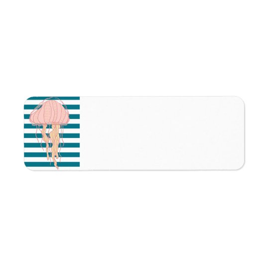 Blue White Bold Stripes Jellyfish Address Labels
