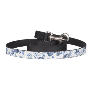 Blue & White Botanical Floral Toile Dog Leash