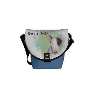 Blue & White Bull Terrier, Blue Butterfly Mini Bag Commuter Bags