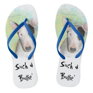 Blue & White Bull Terrier Butterfly Flip Flops