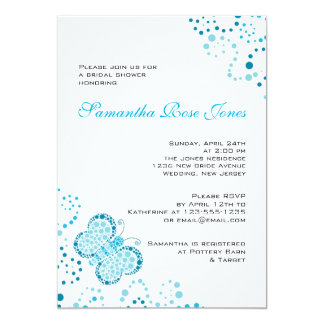 Blue & White Butterfly Pointillism Bridal Shower Card