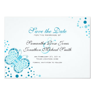 Blue & White Butterfly Pointillism Save the Date 13 Cm X 18 Cm Invitation Card