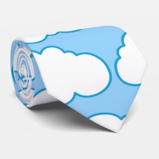 Blue White Cartoon Clouds Personalized Tie