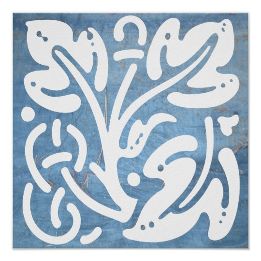 Blue White Celtic Leaves Knot  Square Poster