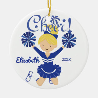 Blue & White Cheer Blonde Cheerleader Ornament