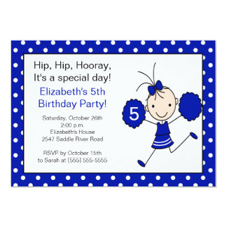 Blue & White Cheerleader Cheer Birthday Invitation