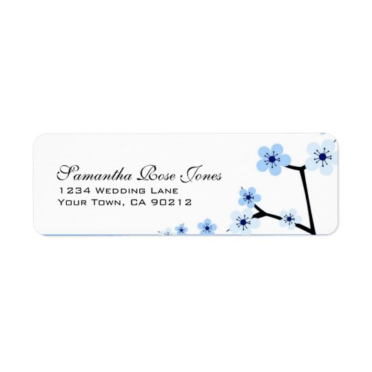 Blue & White Cherry Blossom Flowers Custom Address
