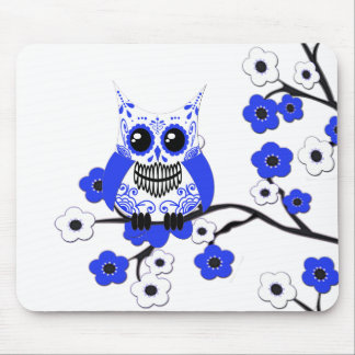 Blue White Cherry Blossoms Owl Mousepad