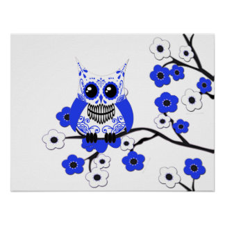 Blue White Cherry Blossoms Owl Poster