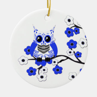 Blue White Cherry Blosssoms Owl Ornament