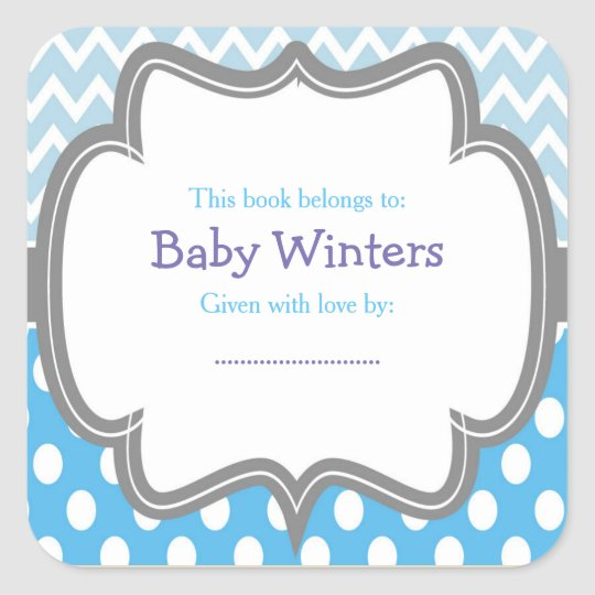 Blue & White Chevron Baby Shower Bookplate Square