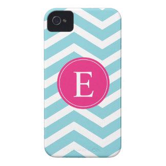 Blue White Chevron Bright Pink Monogram Case-Mate iPhone 4 Cases