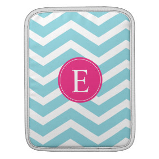 Blue White Chevron Bright Pink Monogram iPad Sleeve