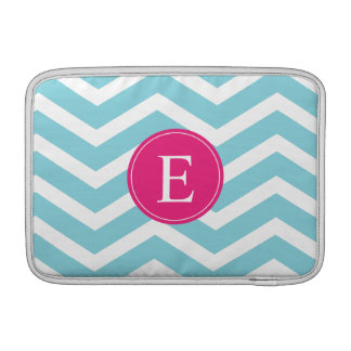 Blue White Chevron Bright Pink Monogram Sleeve For MacBook Air