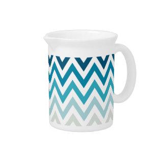 Blue White Chevron Geometric Designs Color Pitcher