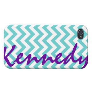 Blue White Chevron Pattern iPhone 4 Cover