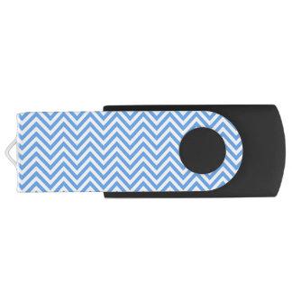 Blue & White Chevron Pattern, USB Flash Drive