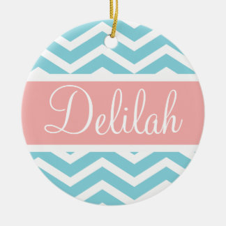 Blue White Chevron Peach Pink Name Christmas Ornament