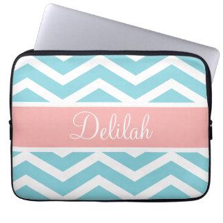 Blue White Chevron Peach Pink Name Laptop Computer Sleeve