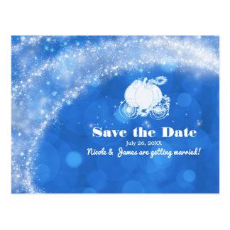 Blue & White Cinderella Carriage Wedding Save Date Postcard