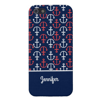 Blue White & Coral Red Nautical Boat Anchors G2 iPhone 5 Covers