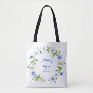 Blue White Country Daisy Floral Wedding Bag