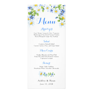 Blue White Country Daisy Floral Wedding Menu