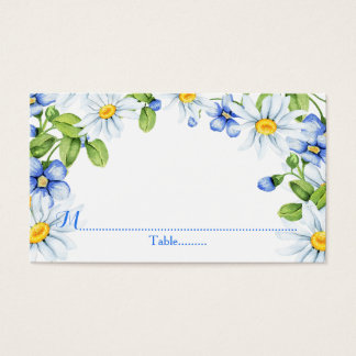 Blue White Country Daisy Wedding Place Cards
