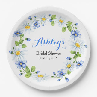 Blue White Country Daisy Wreath Bridal Shower Paper Plate