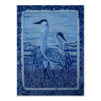 Blue & White Cranes Wetlands Coyote Rabbit Poster