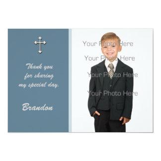Blue White Cross Religious Photo Card 13 Cm X 18 Cm Invitation Card