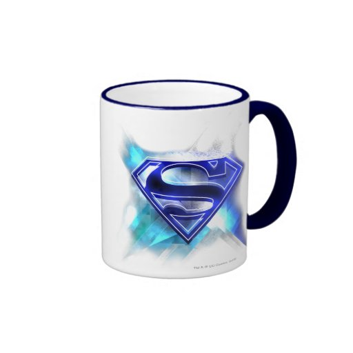 Blue-White Crystal Superman Logo Mug