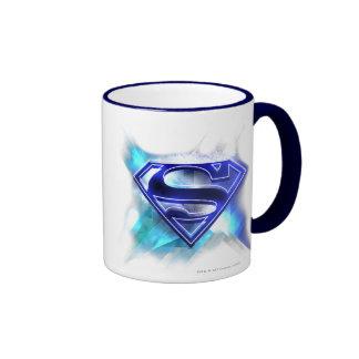 Blue-White Crystal Superman Logo Ringer Mug