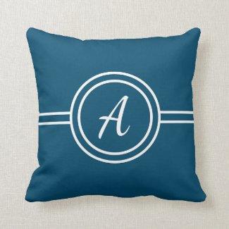 Blue & White Custom Monogram Pillow