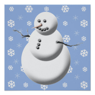 Blue & White Cute Holiday Snowman Poster
