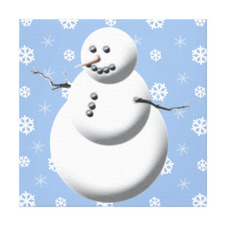 Blue & White Cute Snowman Holiday Canvas Wall Art Stretched Canvas Print