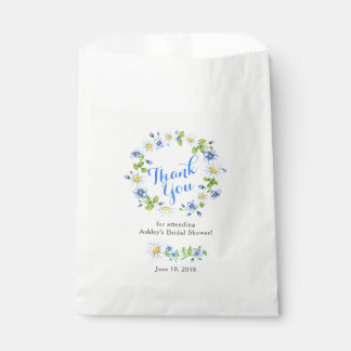 Blue White Daisy Floral Bridal Shower Thank You Favour Bags