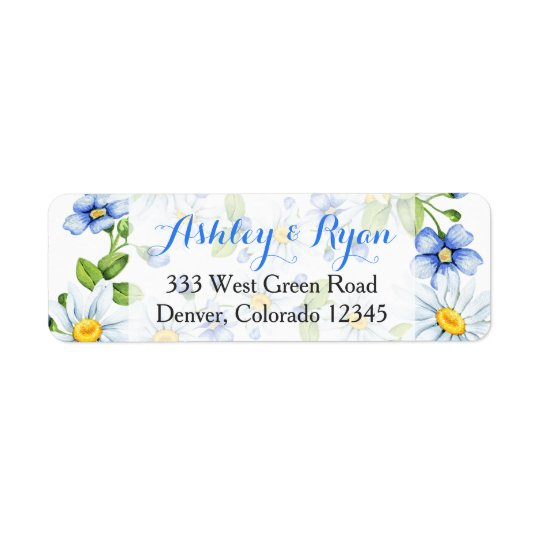 Blue White Daisy Floral Wedding Address Labels