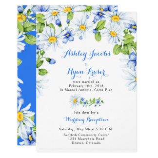 Blue White Daisy Post Wedding Reception Only Card