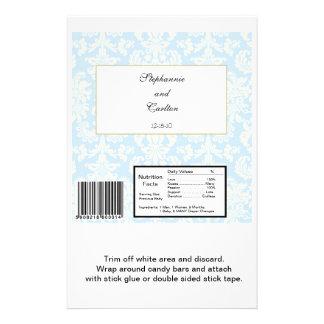 Blue White Damask Wedding Hershey s Large Wrapper Personalized Flyer