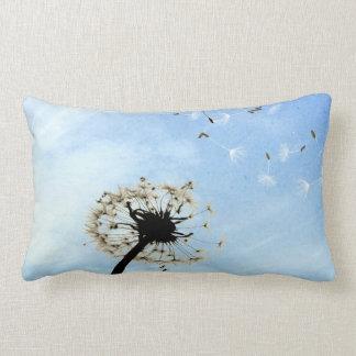 Blue white dandelion wishes Throw pillow