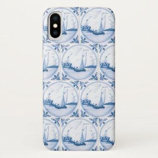 Blue White Delft Sailboat Faux Tiles iPhone X Case