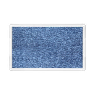 Blue White Denim Texture Look Image Acrylic Tray