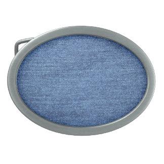 Blue White Denim Texture Look Image Belt Buckles
