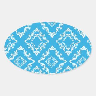 blue white diamond damask pattern sticker