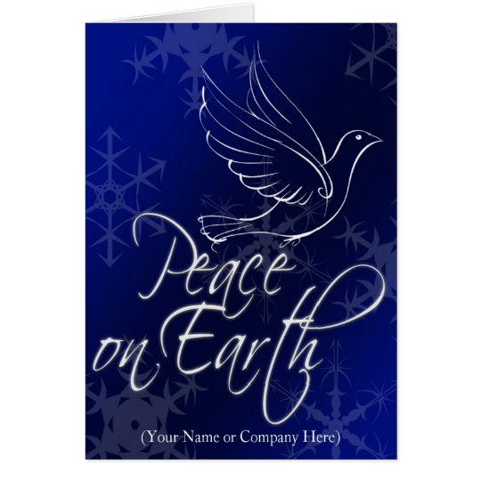 Blue White Dove, Peace on Earth Christmas Card