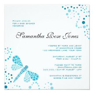 Blue & White Dragonfly Elegant Baby Shower 13 Cm X 13 Cm Square Invitation Card