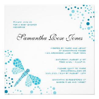 Blue White Dragonfly Elegant Baby Shower Personalized Invite