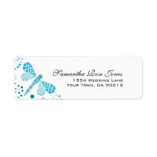 Blue & White Dragonfly Pointillism Custom Address