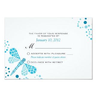 Blue & White Dragonfly Pointillism Custom RSVP 9 Cm X 13 Cm Invitation Card